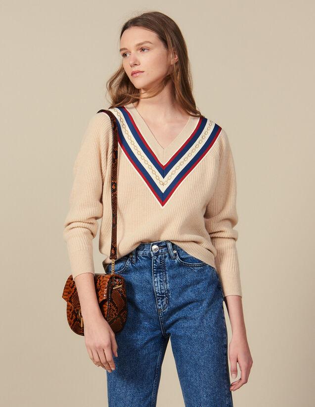 산드로 컬러블록 밴드 브이넥 스웨터 - 베이지 Sandro V-Neck Sweater With Braid Trim,Beige
