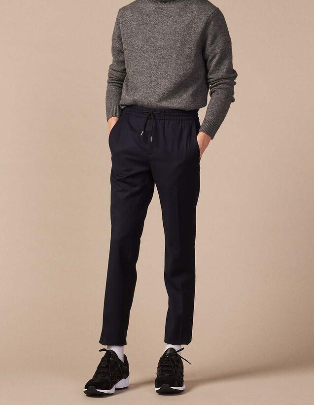 산드로 Sandro Smart flannel trousers,Navy Blue