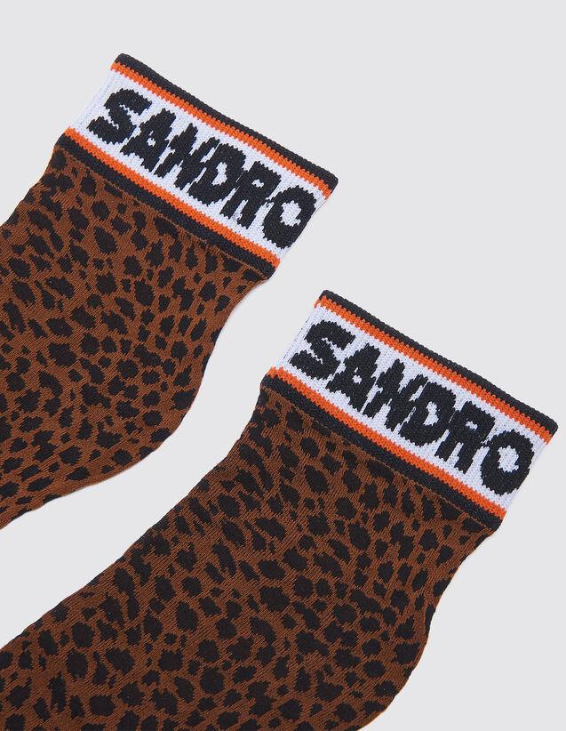 산드로 산드로 Sandro Short leopard print socks,Leopard