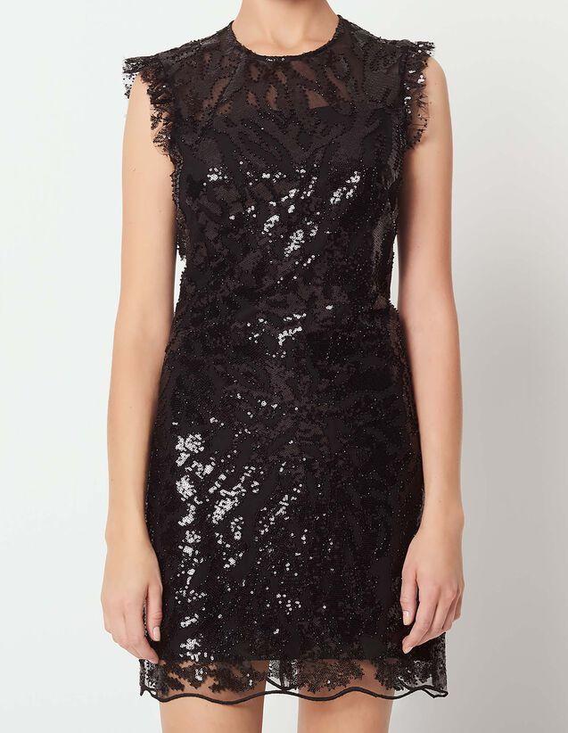 산드로 산드로 Sandro Backless sequin dress,Black