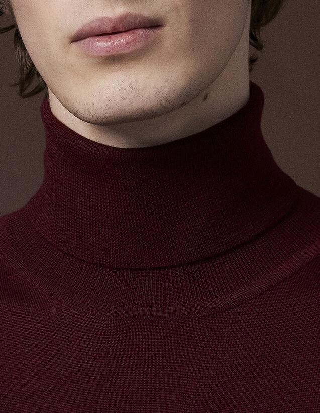 산드로 산드로 Sandro Roll neck wool sweater,Burgundy