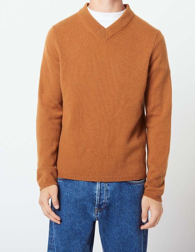 산드로 Sandro Wool and cashmere sweater with V-neck,Cognac