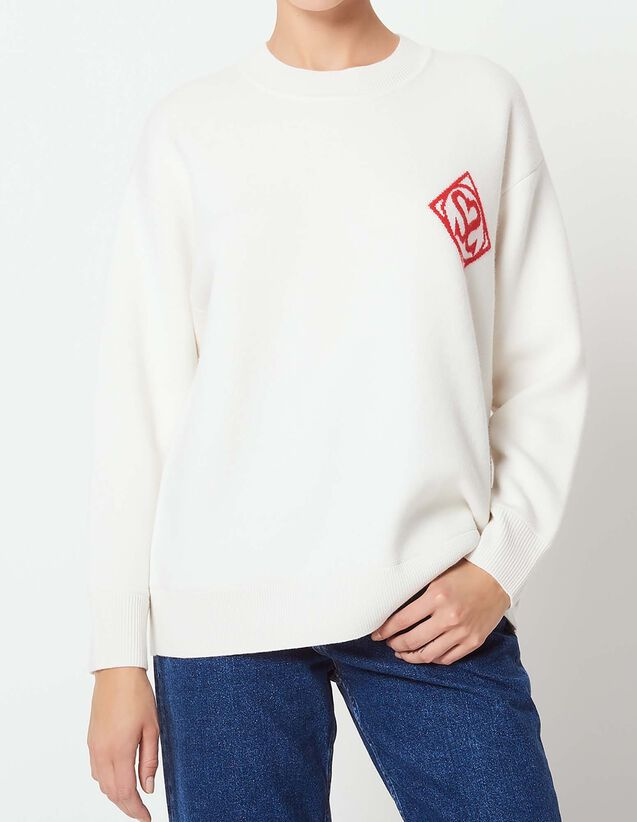 산드로 Amerisier 산드로 로고 스웨터 Sandro Round neck sweater with logo,Ecru