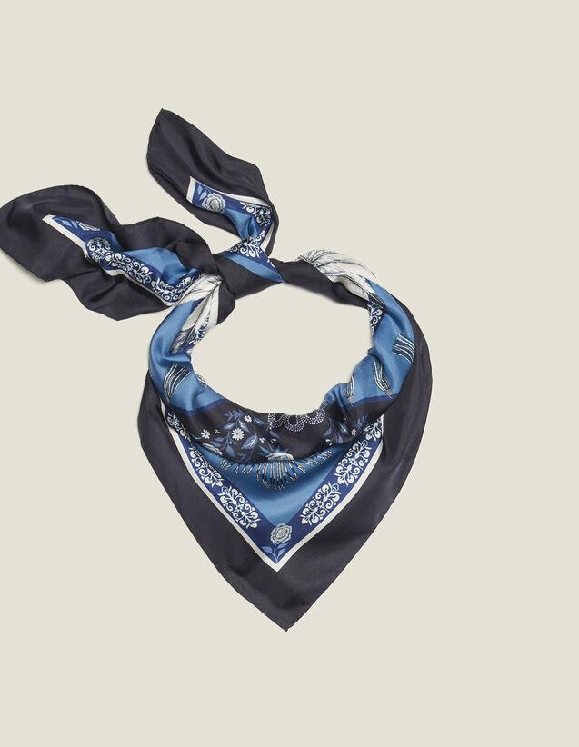 산드로 실크 스카프 Aro Sandro Printed Silk Scarf,Blue Jean