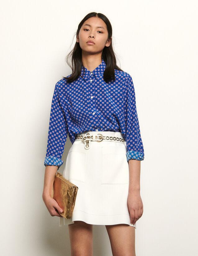 산드로 실크 셔츠 Sandro Printed silk shirt,Blue