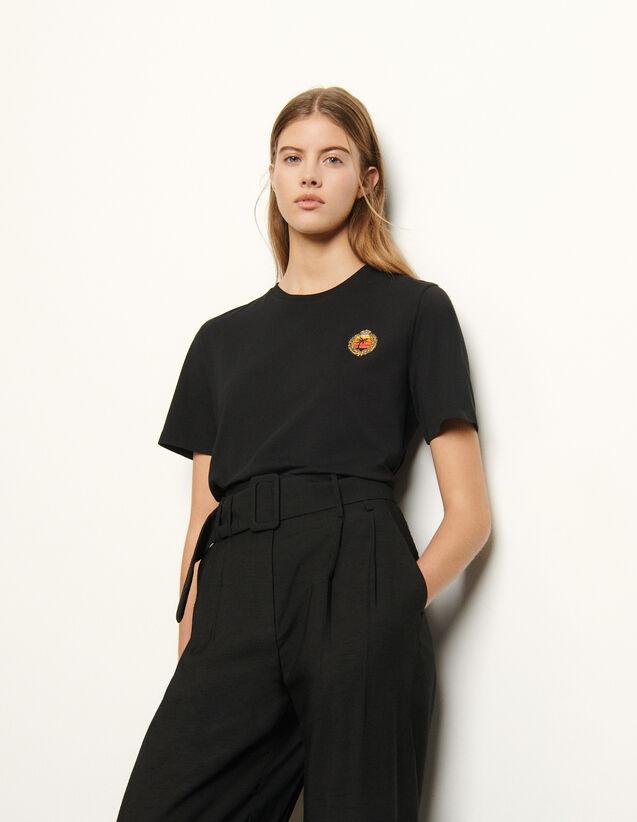 산드로 티셔츠 Sandro T-Shirt with patch on the chest,Black