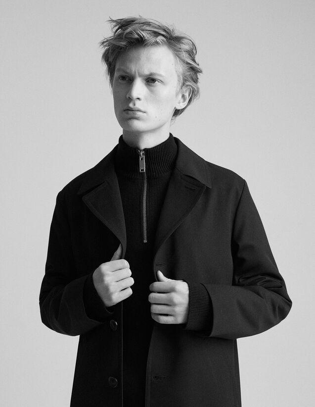 산드로 Sandro Straight-cut raincoat,Black
