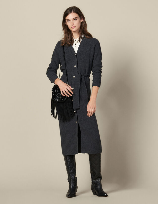산드로 원피스 Sandro Ribbed Knit Tank Dress,Grey