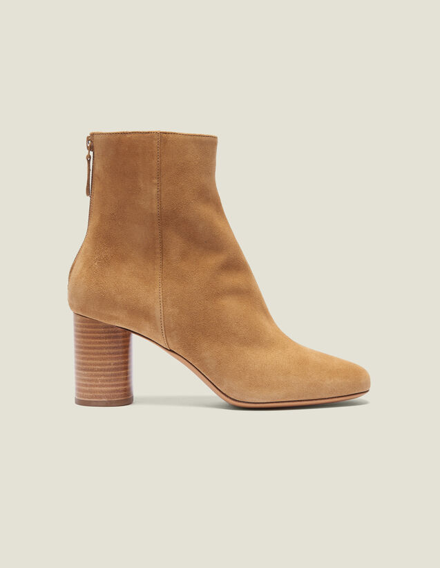 산드로 스플릿 가죽 앵클 부츠 - 베이지 Sandro Suède Split Leather Ankle Boots,Ambre