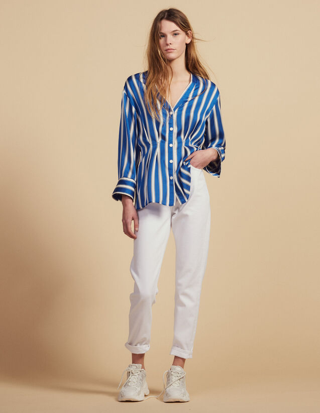 산드로 Lizabeth Sandro Striped Shirt With Press Studs,Blue
