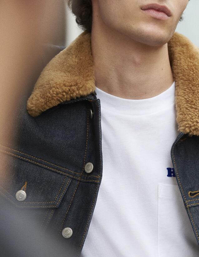 산드로 Sandro Raw denim jacket with a sheepskin collar,Raw-Denim