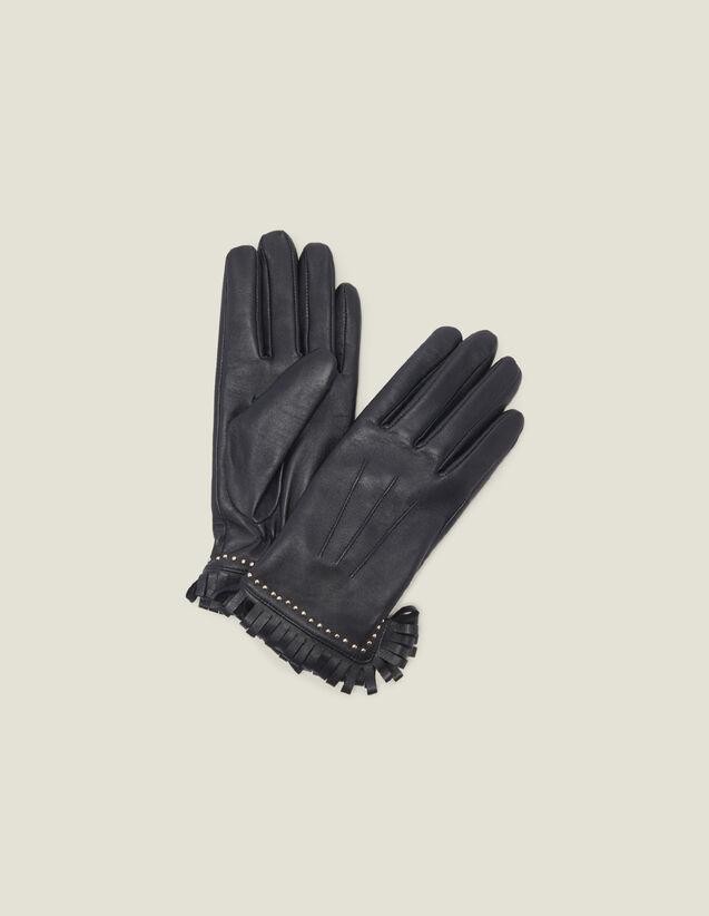 산드로 가죽 장갑 Sandro Leather Gloves With Studs And Fringing,Black