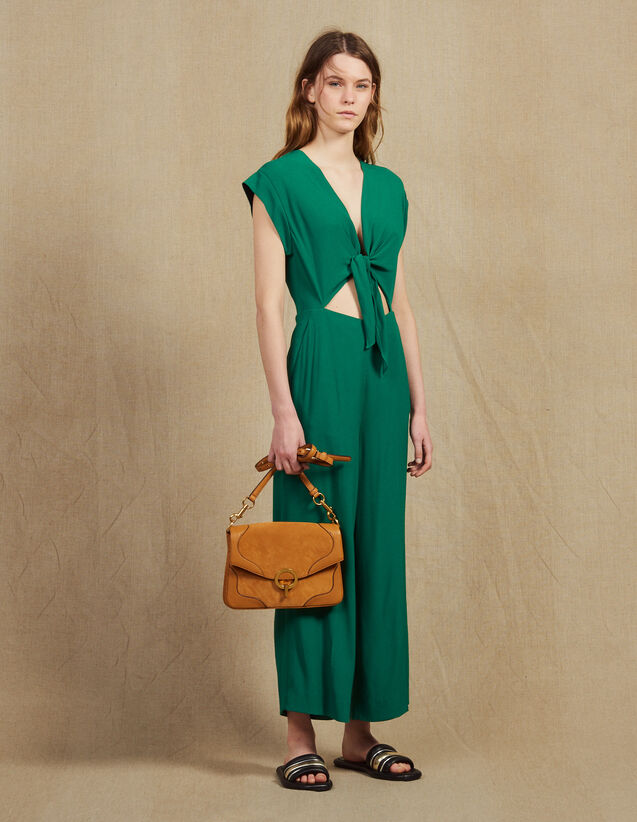 산드로 점프수트 Sandro Jumpsuit With Tie Fastening On The Top,Green
