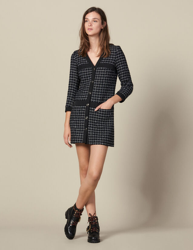산드로 쇼트 트위드 코트 원피스 Sandro Short Tweed Coat Dress,Navy Blue