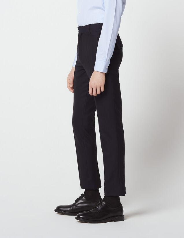 산드로 Sandro Pique wool suit trousers,Navy Blue