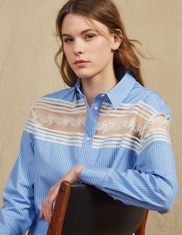 산드로 Hira Sandro Striped Shirt With Lace Inset,Blue