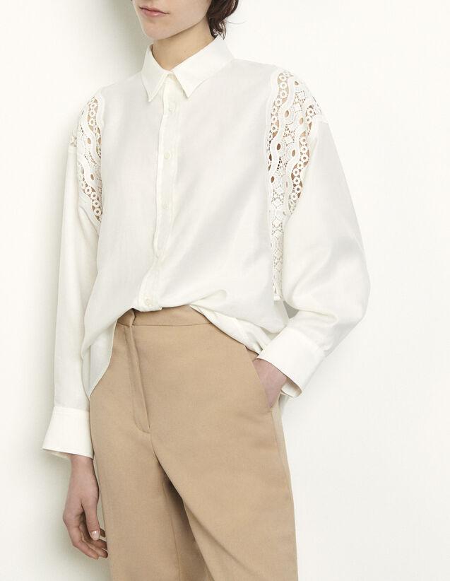 산드로 레이스 장식 셔츠 - 화이트 Sandro Shirt with guipure inserts
