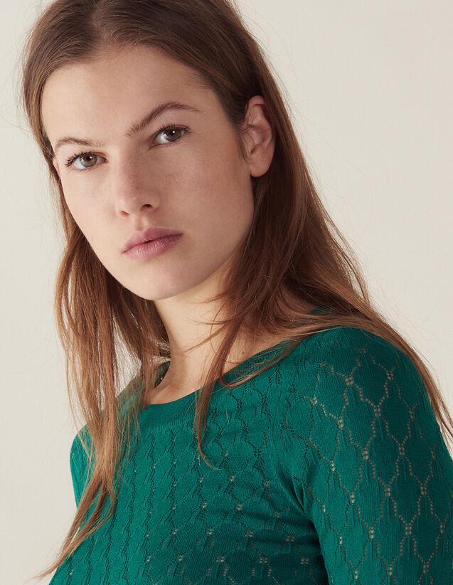 산드로 Nabelle 스티치 장식 스웨터 Sandro Long-sleeved decorative sweater,Green
