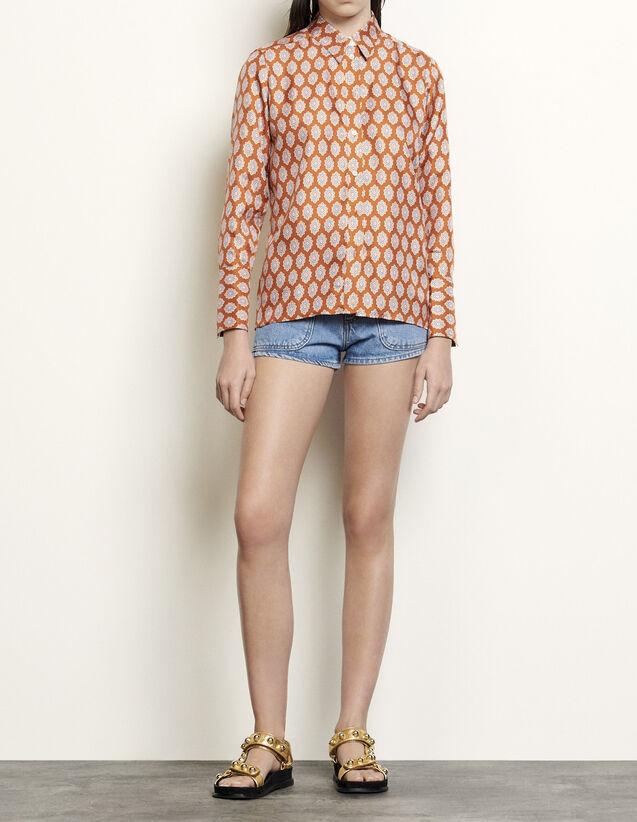 산드로 프린티드 실크 클래식 셔츠 - 러스트 Sandro Classic shirt in printed silk