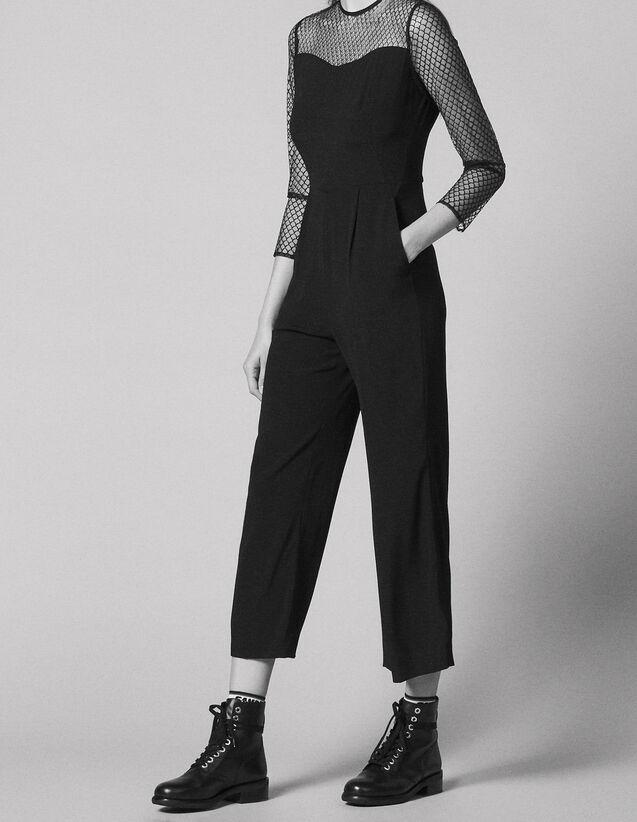 산드로 SANDRO Dual material jumpsuit,Black