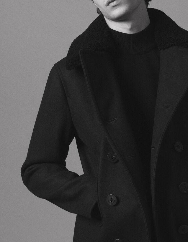 산드로 Sandro Woolcloth pea coat,Navy Blue