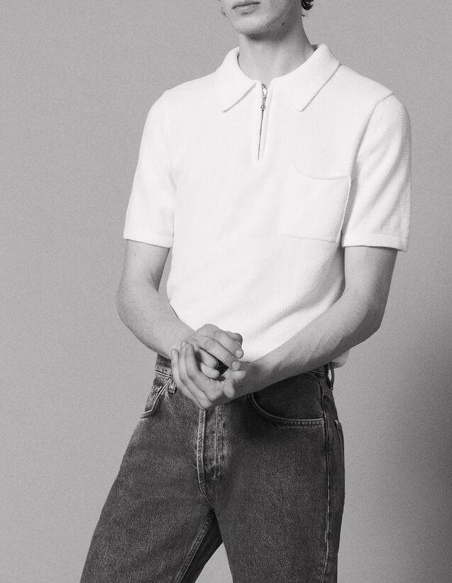 산드로 산드로 Sandro Short-sleeved chenille knit polo shirt,Ecru