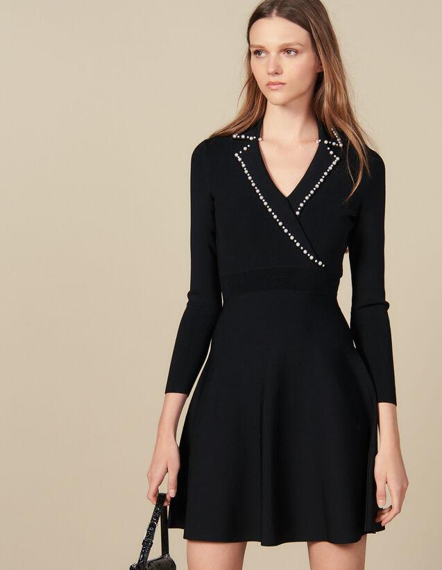 산드로 니트 원피스 Sandro Short Knit Dress With Tailored Collar,Black