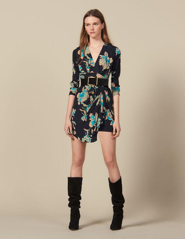 산드로 원피스 Sandro Short printed dress with draped belt,Black