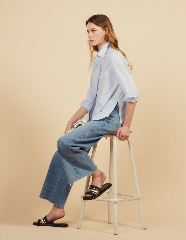 산드로 Dama Sandro Poplin Shirt With High Cuffs,Sky Blue