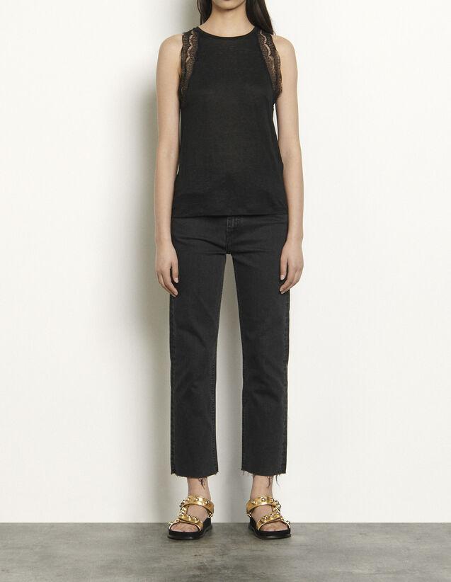 산드로 민소매 탑 Sandro Linen vest top edged with lace,Black
