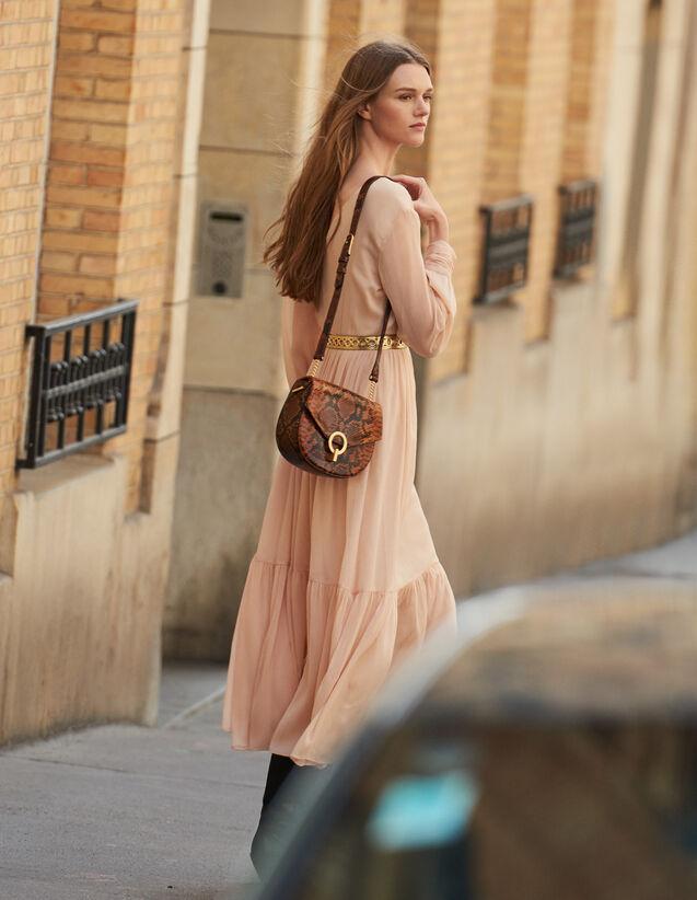 산드로 롱 원피스 Sandro Long pleated dress with long sleeves,Nude