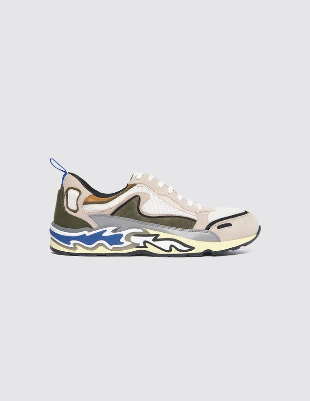 산드로 플레임 불꽃 스니커즈 - 올리브 그린 Sandro Sneakers With Flames On The Sole 279