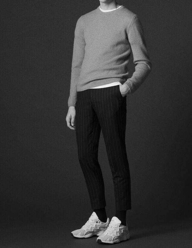 산드로 Sandro Straight-cut pinstripe trousers,Navy Blue