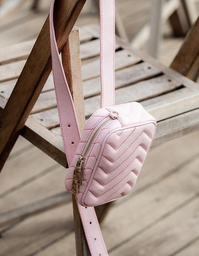 산드로 패니팩 Iza Sandro Quilted Leather Fanny Pack,Peony