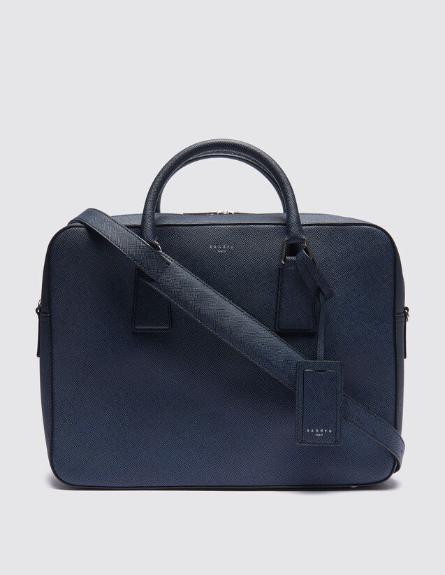 산드로 산드로 산드로 Sandro Large Saffiano leather briefcase,BLUE / BLACK