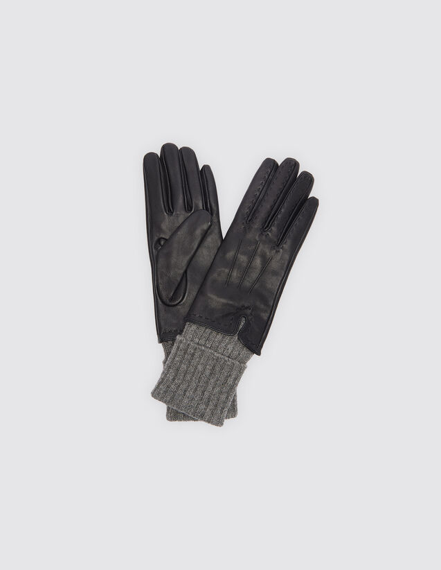 산드로 SANDRO Leather gloves with wool and cashmere,Noir/Gris