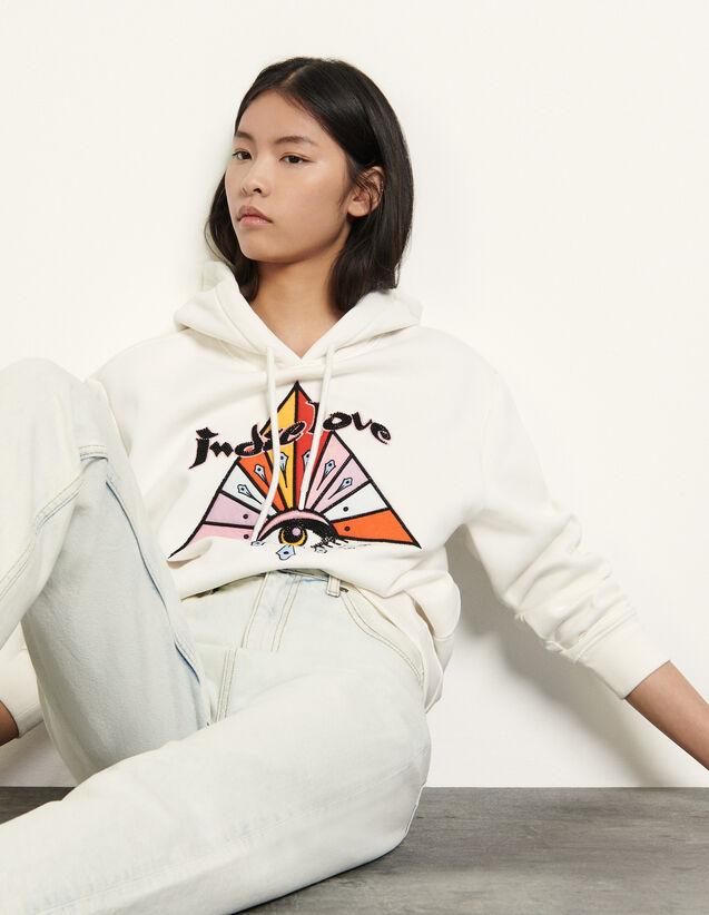 산드로 자수 후드티 - 화이트 Sandro Embroidered hoodie