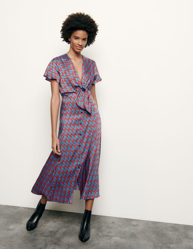 산드로 프린트 롱 하이웨이스트 원피스 Sandro Long printed dress with tie fastening, Blue