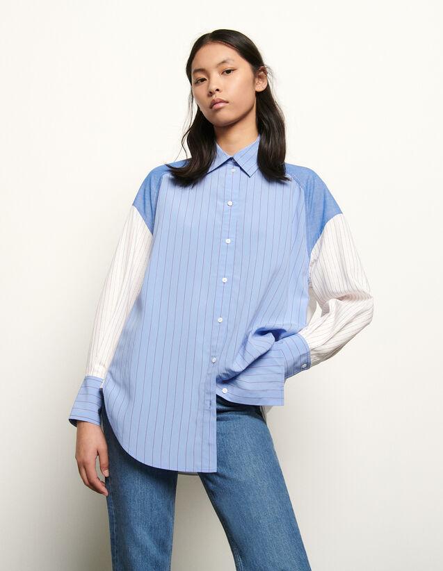 산드로 스트라이프 패치워크 셔츠 ('편스토랑' 전혜빈 착용) Sandro Oversized striped patchwork shirt,Blue/white