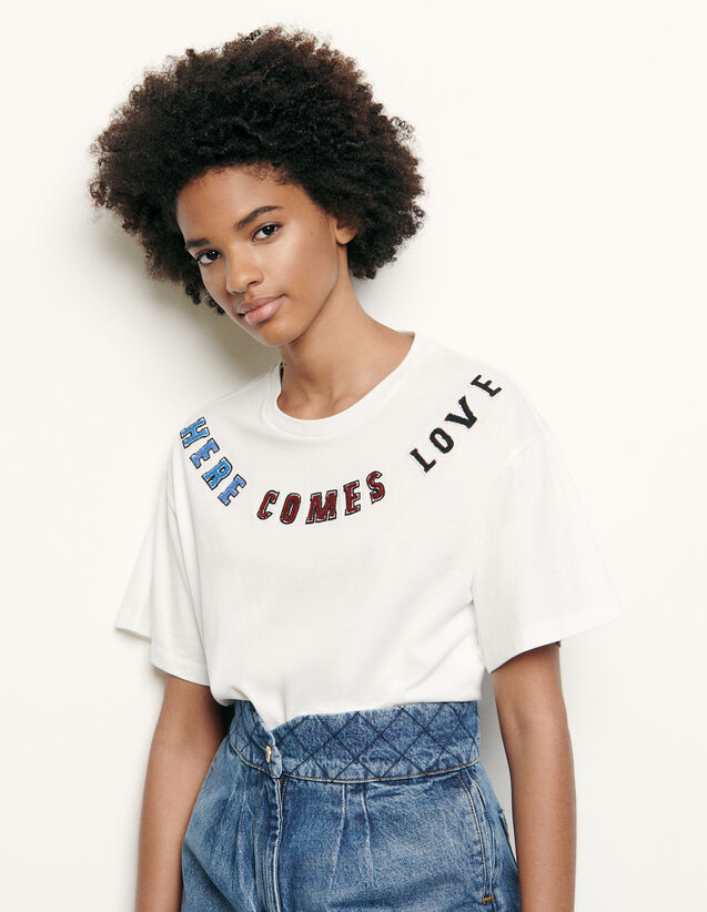산드로 티셔츠 Sandro T-shirt with message patch,white