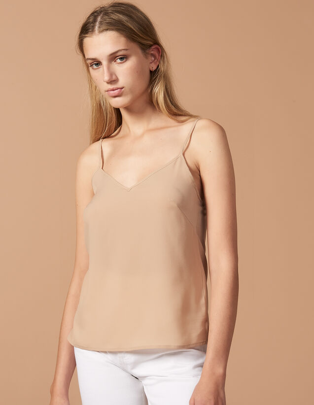 산드로 N-Plus Sandro Top With Fine Straps,Nude
