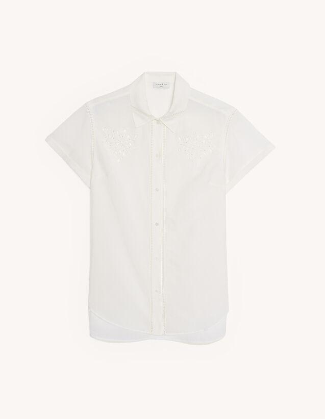 산드로 임벨리쉬드 린넨 셔츠 - 크림 Sandro Linen blend embellished shirt