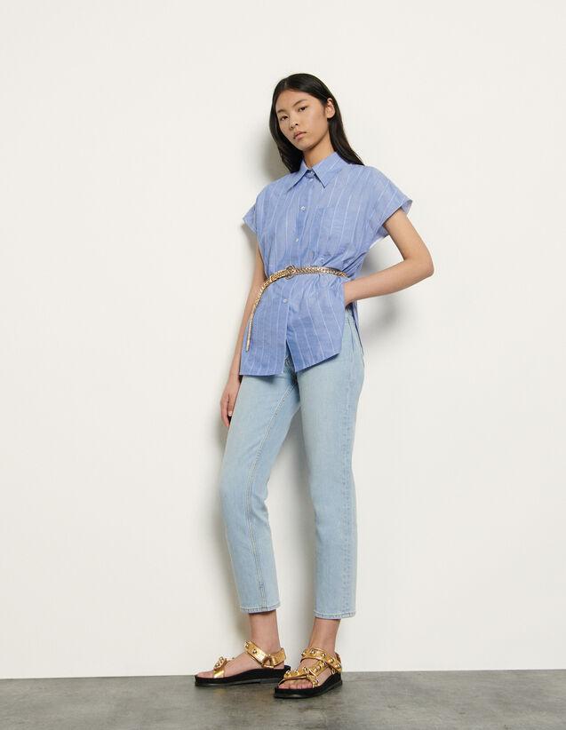 산드로 오버사이즈 셔츠 Sandro Oversized sleeveless shirt,Blue
