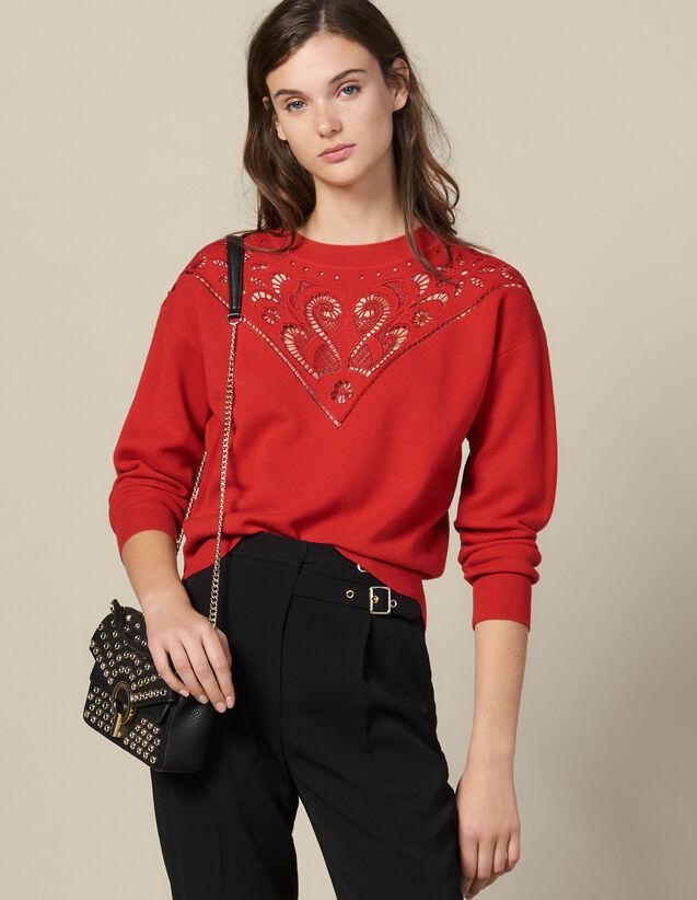 산드로 하이넥 스웨터 Sandro High-Neck Sweater With Front Panel,Red