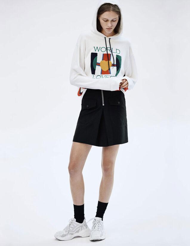 산드로 치마 Liya 하이웨스트 스커트 Sandro High-waisted skirt with contrasting zip,Black
