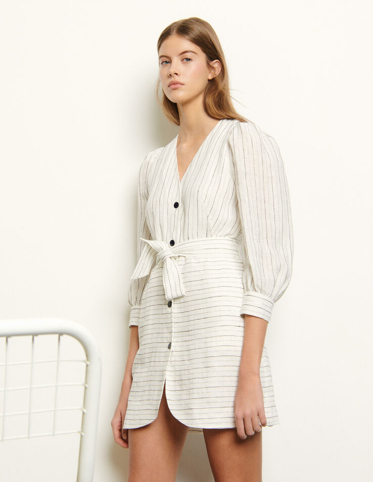 Sandro Short dress with fine stripes