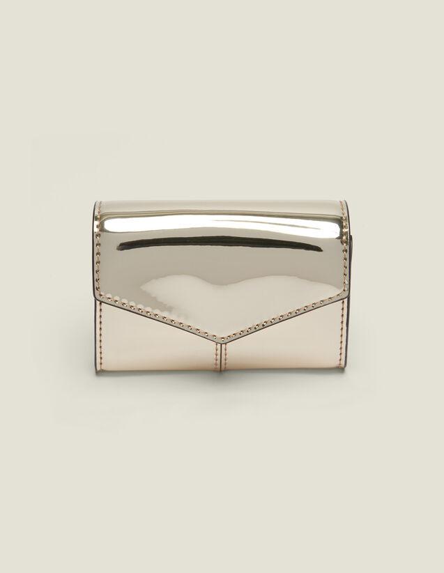산드로 지갑 Porte-Monnaie Sandro Mirror-Effect Leather Purse,Gold