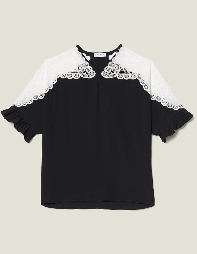산드로 Wenala Sandro Top With Lace Insert,Black