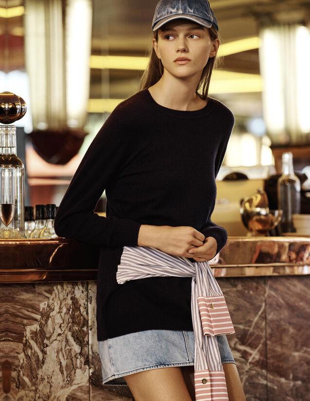 산드로 Sandro Wool and cashmere sweater,Navy Blue