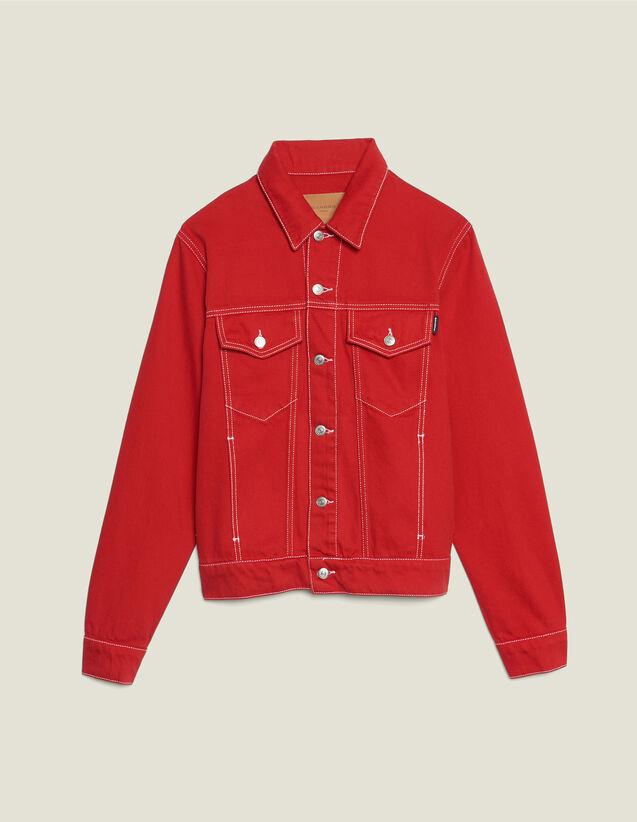 산드로 옴므 데님 컨버스 자켓 - 레드 Sandro Denim canvas jacket,Red